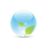 Hojas en burbuja azul Imagenes de archivo
