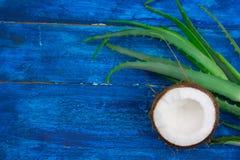 Hojas en una tabla de madera azul, ingredientes naturales del verde de Vera del coco y del áloe de los cosméticos imagenes de archivo