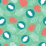 Hojas exóticas en un fondo verde Modelo tropical con las hojas del plátano libre illustration
