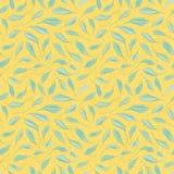 Hojas exhaustas de la mano azul clara en fondo amarillo texturizado Modelo inconsútil de la repetición del vector con ambiente fr ilustración del vector
