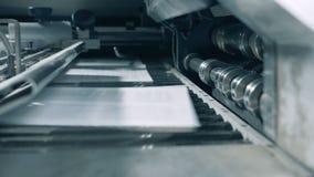Hojas impresas que se levantan en un transportador especial, cierre almacen de video