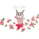 Hojas lindas de la flor del juego del gato Fotos de archivo libres de regalías