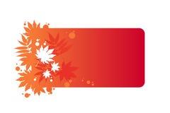 Hojas otoñales en marco rojo Fotos de archivo libres de regalías