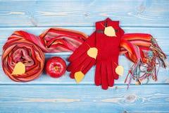 Hojas otoñales, guantes y mantón para la mujer, ropa para el otoño o invierno Fotografía de archivo