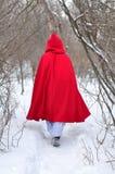 Hojas rojas de la capa con capucha en un sendero Imagenes de archivo