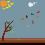 Hojas tomadas por el viento ilustración del vector