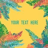Hojas tropicales en las esquinas Lugar para su texto Ejemplo del vector en fondo anaranjado Imágenes de archivo libres de regalías