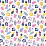 Hojas tropicales pi del verano del fondo del hibisco colorido de la piña stock de ilustración