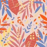 Hojas tropicales rojas, azules y amarillas en fondo beige Dise?o del vector ilustración del vector