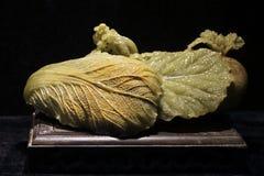 Hojas vegetales, talla de piedra Fotos de archivo