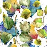 Hojas verdes del abedul Modelo inconsútil del fondo Textura de la impresión del papel pintado de la tela Imagen de archivo