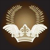 Hojas y alas de la corona stock de ilustración