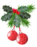 Hojas y bayas del acebo de la Navidad y del Año Nuevo Imagenes de archivo