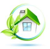 Hojas y casa del verde stock de ilustración