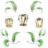 Hojas y coronas pintadas a mano de la acuarela Fotografía de archivo libre de regalías