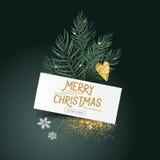 Hojas y decoraciones festivas del pino Fotografía de archivo
