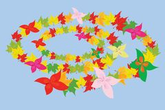 Hojas y flores de otoño Fotografía de archivo