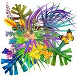 Hojas y fondo tropicales de las flores Imagenes de archivo