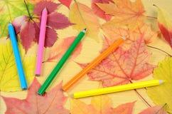 Hojas y lápices de otoño Fotos de archivo