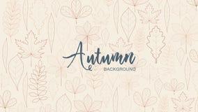 Hojas y lugar de otoño para el texto Colores del marrón ligero y oscuro libre illustration