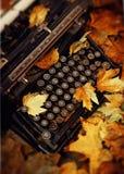 Hojas y máquina de escribir muertas Foto de archivo