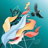 Hojas y pájaro coloridos Imagen de archivo libre de regalías