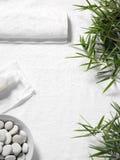 Hojas y toalla del bambú con una loción del masaje en un fondo de la toalla Imagen de archivo