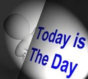 Hoje é as exposições do sinal do dia não espera Foto de Stock