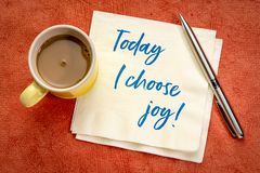 Hoje eu escolho a afirmação positiva da alegria imagem de stock