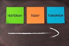 Hoje, ontem, e amanhã imagens de stock royalty free