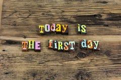 Hoje primeiramente começo do dia para começar a preparar para a frente o movimento fotografia de stock royalty free