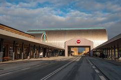 Hoje Taastrup train station during winter. Hoje Taastrup Denmark - February 6. 2018: Hoje Taastrup train station during winter Royalty Free Stock Photo