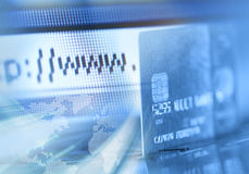 Hojeador de la tarjeta de crédito y de Internet Fotografía de archivo
