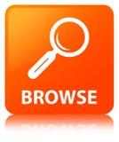 Hojee el botón cuadrado anaranjado ilustración del vector