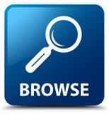 Hojee el botón cuadrado azul stock de ilustración