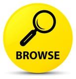 Hojee el botón redondo amarillo stock de ilustración