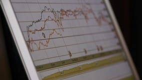 Hojee la carta de los datos de negocio del web, digital financiero de la demostración de ordenador almacen de metraje de vídeo