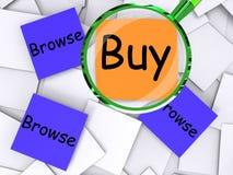 Hojee los papeles compras malas y mirada del post-it de la compra alrededor ilustración del vector