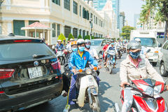 HOJIMIN City, Vietnam Mar 17:: traffic jam and chaotic in Vietna Royalty Free Stock Photo