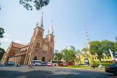 HOJIMIN-stad, Vietnam Mars 17:: härlig kyrka, Notre Dame cath Royaltyfria Bilder