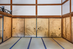 Hojo at Ryoanji Temple in Kyoto. The head priest's former residence features some paintings on the sliding doors of its rooms stock image
