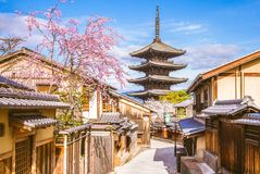 Street view of kyoto, japan in spring royalty free stock photo