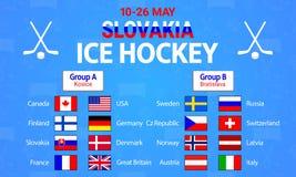 Hokej Na Lodzie 2019 również zwrócić corel ilustracji wektora Kraj flaga ikony Mężczyzny hokeja na lodzie grupy round stół Grafic royalty ilustracja