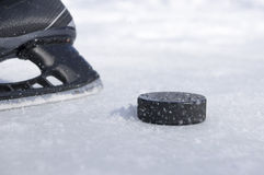 Hokeja krążek hokojowy i łyżwa zdjęcie royalty free