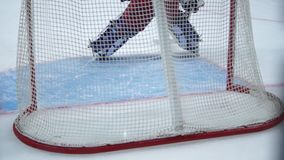Hokejowa bramkarz rozgrzewka zdjęcie wideo