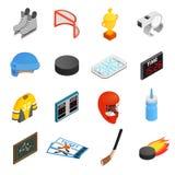 Hokejowe isometric 3d ikony ustawiać Zdjęcia Stock