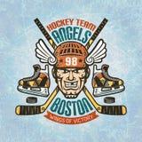 Hokejowy emblemat z graczem ilustracja wektor