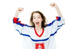 Hokejowy fan w bydle w krajowym kolorze Sistani otucha, ?wi?tuje cel obraz stock