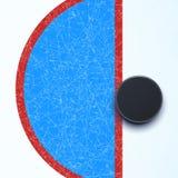 Hokejowy lodowisko z krążkiem hokojowym royalty ilustracja