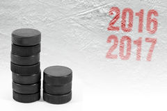 Hokejowy sezon 2016-2017 rok Zdjęcia Royalty Free